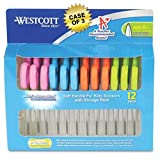 Westcott School Pack Kids Soft Handle Scissors with Anti-microbial Protection, 12/Pack, Assorted, 5'' Pointed Blade, Case of 3