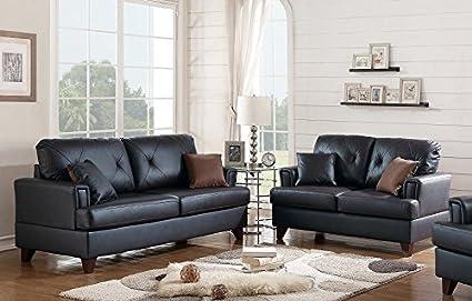 Amazon Com Poundex Clarissa 2 Pc Black Top Grain Leather Sofa Set