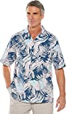 Coolibar UPF 50+ Men's Safari Camp Shirt - Sun Protective (Medium- Marine Navy Modern Palm)