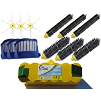 Replacement iRobot Roomba 620 Battery, Filters, Bristle Brushes, Flexible Beater Brushes and 6-Arm Side Brushes - Kit Includes 1 Battery, 3 AeroVac Filters, 3 Bristle Brushes, 3 Flexible Beater Brushes and 3 6-Arm Side Brushes
