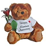 JustPaperRoses ® Happy 10th Anniversary Teddy Bear with Aluminum Rose Gift, Just Paper Roses