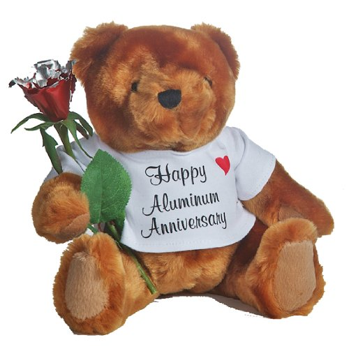 Happy 10th Wedding Anniversary Teddy Bear with Aluminum Rose Gift (10th Anniversary Figurine)