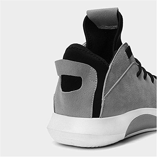 Leider Show Heren Hoge Top Casual Sneakers Lace Up Vrije Tijd Mode Sportschoenen Grijs