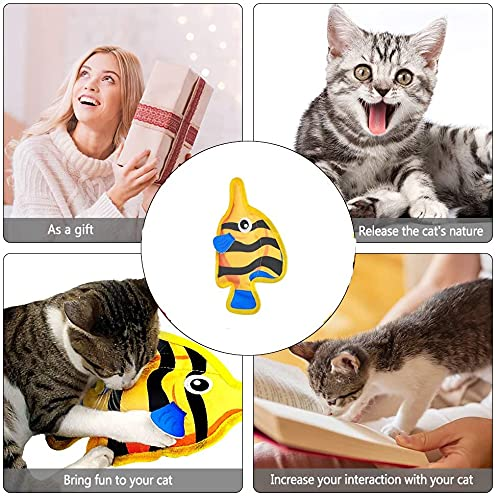 2021 Newest Fish Toys for Cats, Catnip Airbag Cat Toys with Ringing Interactive for Indoor Cat Kitten Chew Toys, Playing Teeth Grinding Pillow Toys