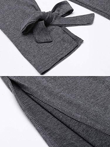 A Giaccone Manica Cardigan Confortevole Di Casual Lunga Sciolto Jacket Colore Puro Giovane Outwear Donna Autunno Primaverile Maglia Dunkelgrau Moda Coulisse Giacca 40qd6vgq