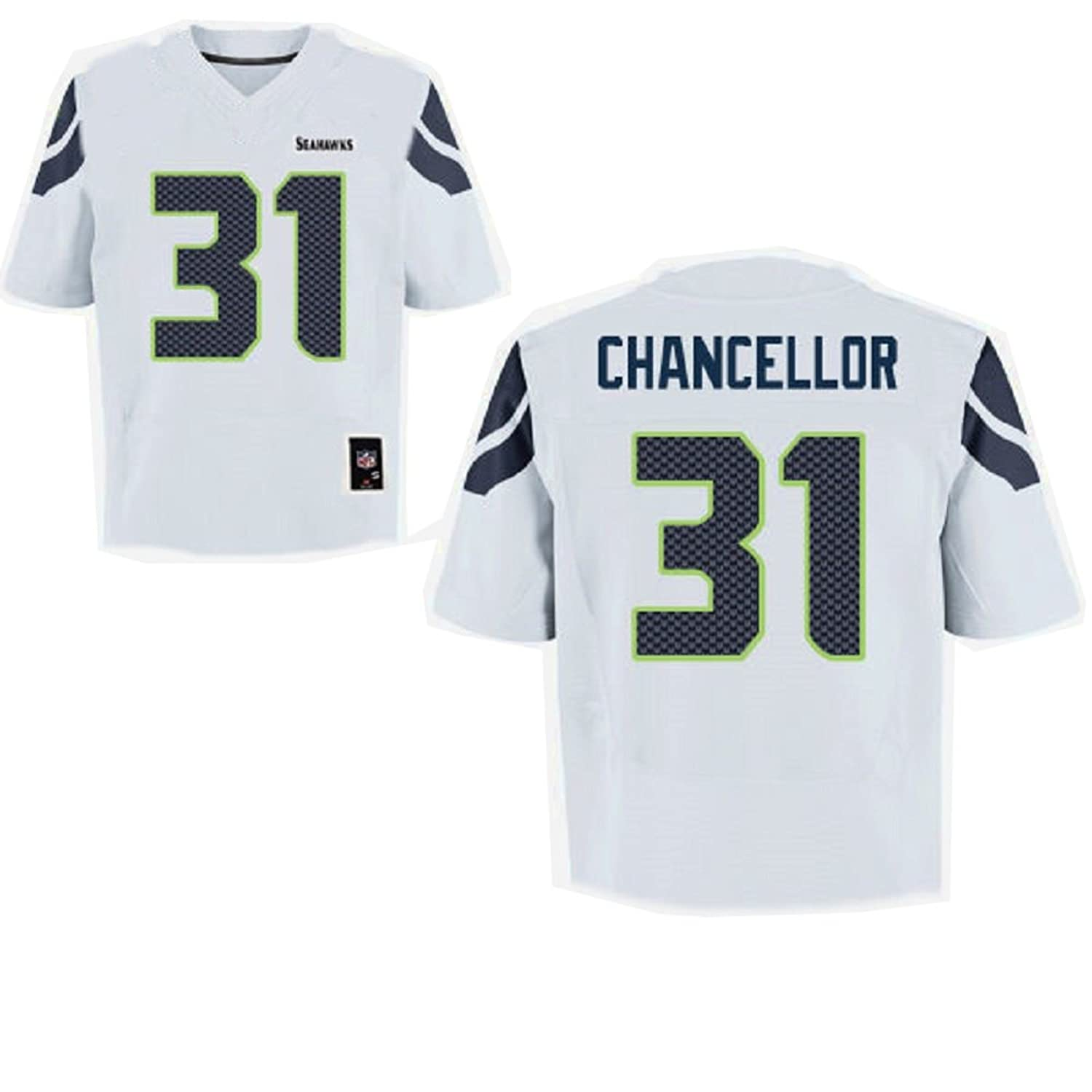 OuterStuff Kam Chancellor Seattle Seahawks NFL Youth White Road Mid