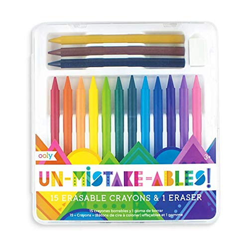 Ooly UnMistakeAbles Erasable Crayons, with Eraser- Set of 15]()