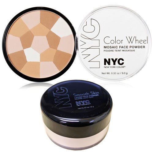 New York Color Wheel Mosaic Face Powder, Translucent Highlighter Glow and Smooth Skin Loose Face Powder Translucent Makeup Set - Face Wheel