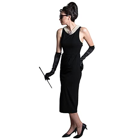 Utopiat Audrey Hepburn Breakfast at Tiffanys Black Cotton Dress Set Vintage Iconic Halloween Costume: Amazon.co.uk: Clothing