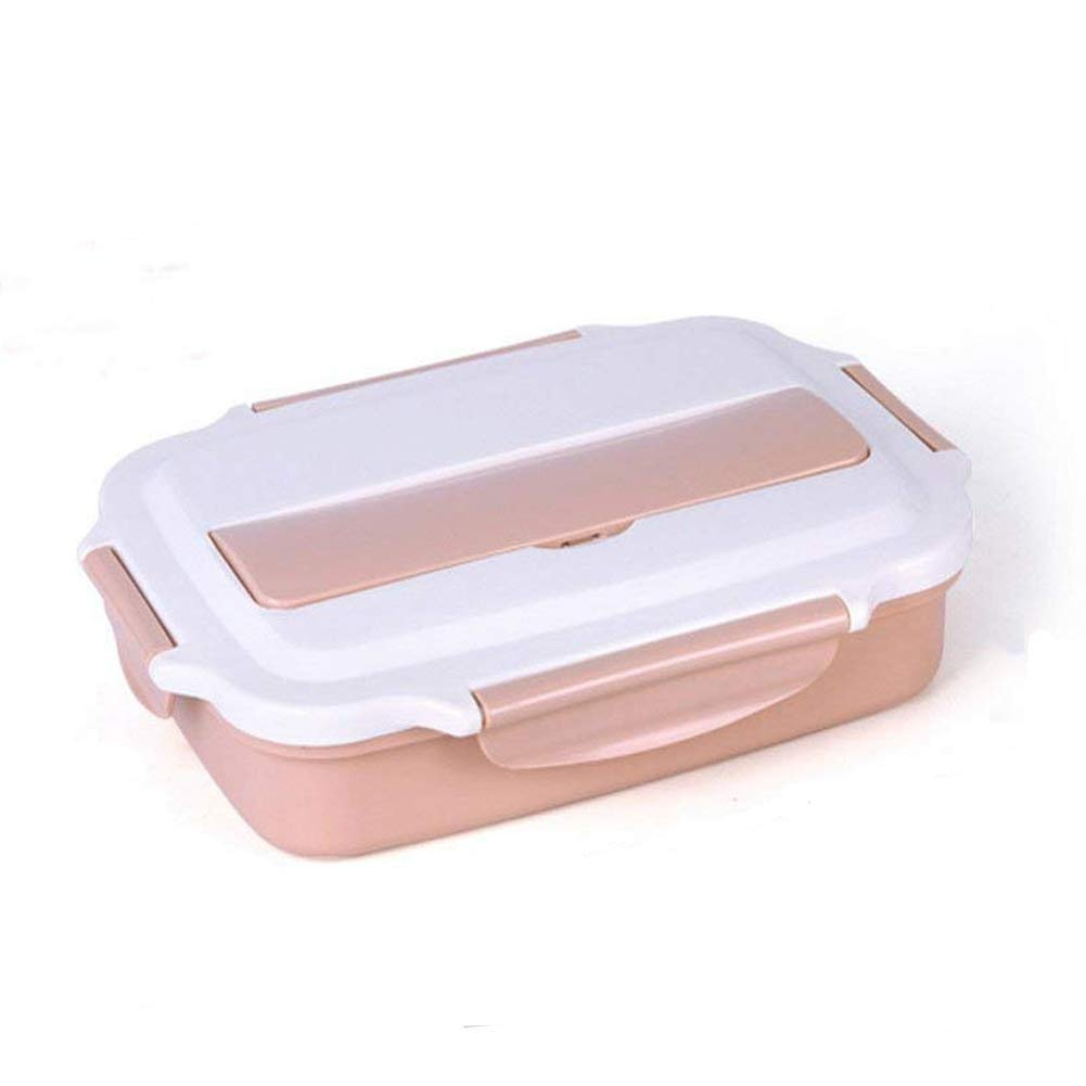 Lunch Box - 304 Stainless Steel Compartment bento Box Insulation Separation Plate Double (Pink) Dennis-001