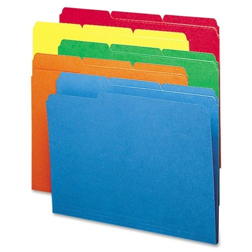 Wholesale CASE of 10 - Smead 1/3 Cut Colored Top Tab File Folders-File Folder,1/3 AST 1-Ply Tab,Letter,100/BX,BE/GN/OE/RD/YW ()
