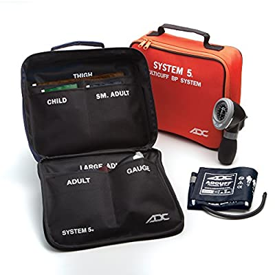 ADC Multikuf 740 5-Cuff EMT Kit with 804 Portable Palm Aneroid Sphygmomanometer, Child, Small Adult, Adult, Large Adult and Thigh Blood Pressure Cuffs (13-66 cm), Black Nylon Zipper Storage Case, Multi-color