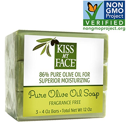 Kiss My Face Naked Pure Olive Oil Bar Soap,4oz Bars, 3 Count