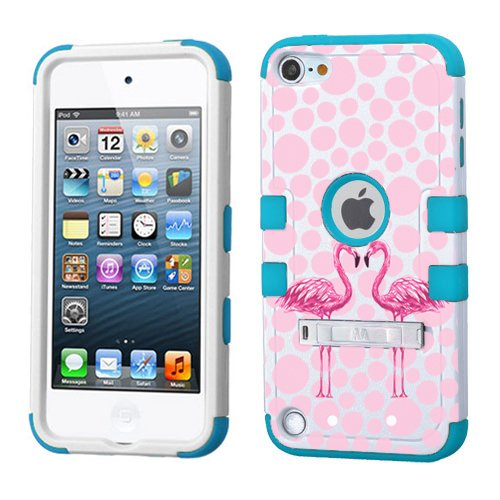 iPod touch 5th 6th Generation White Plastic/Blue Silicone 3-Piece Style Hybrid Hard Case Cover for Apple- For Girls And Boys-Shockproof Dustproof with Stand (Pink Flamingo)