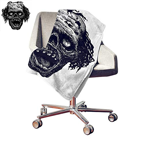 Custom homelife Halloween Print Summer Quilt Comforter Zombie Head Evil Dead Man Portrait Fiction Creature Scary Monster Graphic Throw Blanket Black Dark Grey Bed or Couch 50