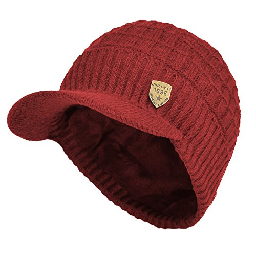 Sports Winter Outdoor Knit Visor Hat Billed Beanie with Brim Warm Fleece Lined for Men and Women (Red) (Beanie Fleece Visor)