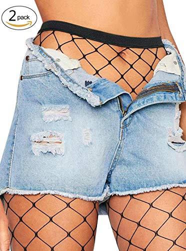 (DancMolly Fishnet Stockings Pantyhose Women's 2 Pair High Waist Hollow Mesh Tights Legging Hosiery (Black/Large Hole,2 Pair, One Size))