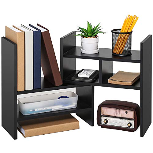 Desktop Organizer Multi Wood Purpose (FITUEYES Adjustable Desktop Organizer Wood Display Storage Corner Bookcase for Home and Office)