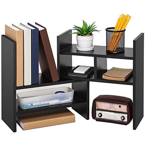 Desktop Wood Organizer Purpose Multi (FITUEYES Adjustable Desktop Organizer Wood Display Storage Corner Bookcase for Home and Office)