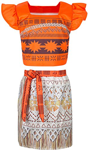 Moana Costume Dress up Little Girls for Toddler Kids Two-Piece Party Princess Skirt (10 (9-10Years), Sleeveless)