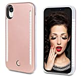 Vanjunn Selfie Light up Case for iPhone XR, LED Light Case with Rechargeable Back and Front Illuminated Luminous Lights for iPhone XR(Rose Gold)