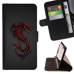 BullDog Case - FOR/Sony Xperia Z3 D6603 / - / Red Tribal Dragon Crest /- Monedero de cuero de la PU Llevar cubierta de la caja con el ID Credit Card Slots Flip funda de cuer