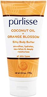 product image for purlisse Coconut Oil + Orange Blossom Silky Body Butter - Natural Moisturizer Cream for All Skin Types - Applying Treatment Deeply Hydrates, Nourishes & Moisturizes Skin, 6 Oz