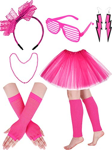 - 80s Costume Set Includes Fishnet Gloves Tutu Skirt Leg Warmer Neon Earrings Lace Headband and for 80s Party Accessories