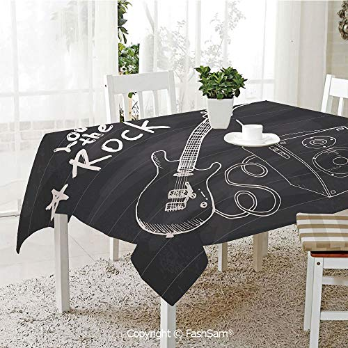AmaUncle 3D Dinner Print Tablecloths Love The Rock Music Themed Sketch Art Sound Box and Text On Chalkboard Print Decorative Resistant Table Toppers (W60 xL84)