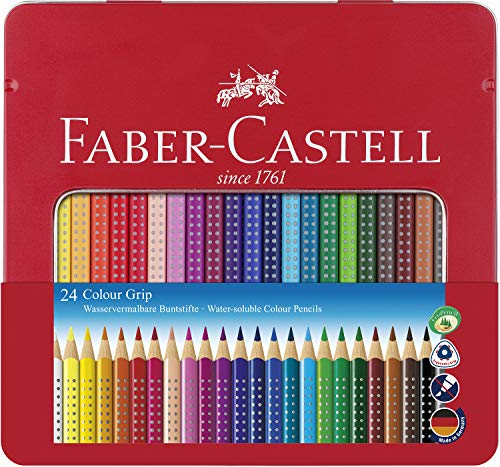 Faber-Castell Grip 2001 Water Soluble Color Pencils in a Tin (Pack of 24)