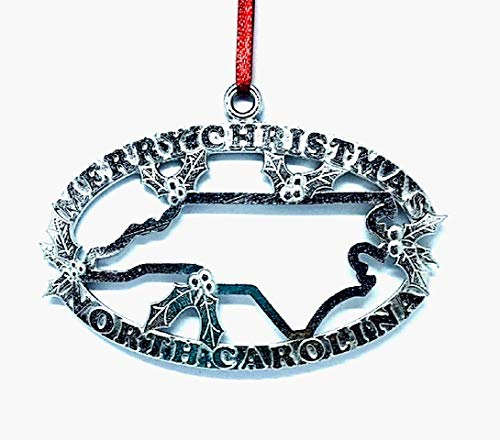 1092 Merry Christmas North Carolina NC Ornament Pewter (Carolina North Hickory)
