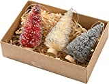 Primitives By Kathy 3 Inches Tall Bristle Glitter Wood Kraft Boxed Sisal Set Of 3 Christmas Trees