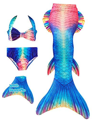 YITU Mermaid Tails Swimmable Costume Swimsuit for Girls, Kids Swimming(with Monofin) -Fin watercolor-110]()