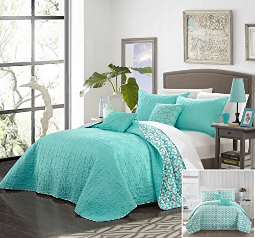 Chic Home 5 Piece Ralston Quiled Flor De Lis Patterned REVERSIBLE Printed King Quilt Set Aqua