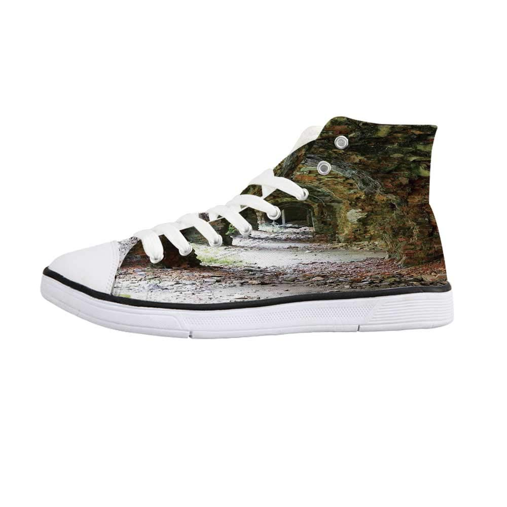 Rustic Home Decor Comfortable High Top Canvas ShoesDamaged Shabby House with Boarded Up Rusty Doors and Mold Windows Home Decor for Women Girls,US 5