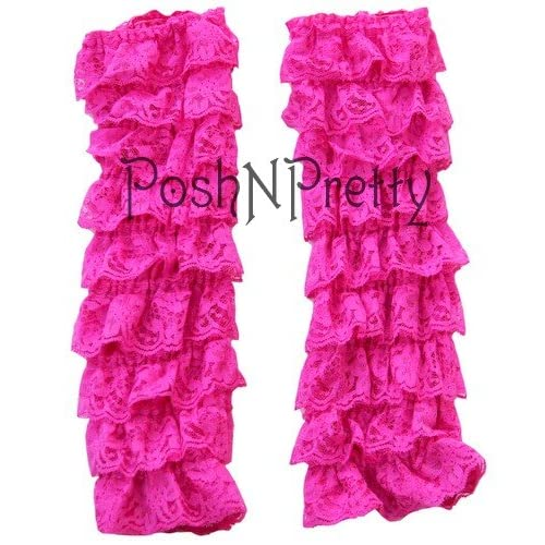 HotPink Lace RUFFLE Baby Toddler Leg warmers. One Size. Tiers of Lace. Just Adorable! for cheap