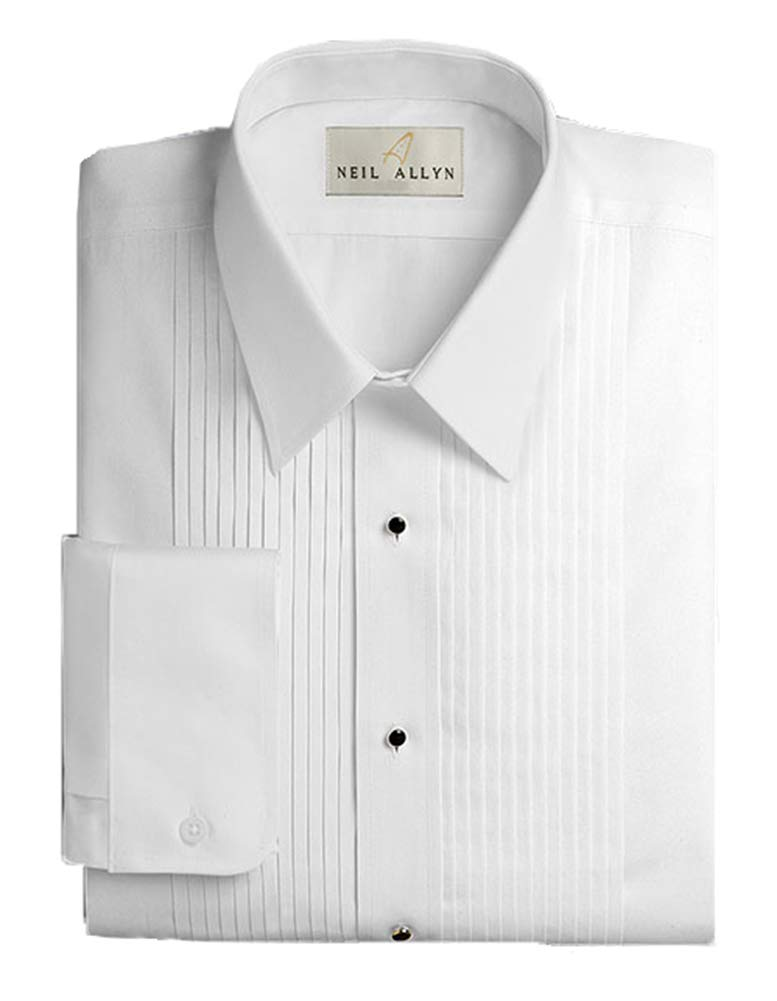 Neil Allyn Men's Tuxedo Shirt Slim Fit Lay Down Collar 1/4 Inch Pleat (15-15.5''- 32/33) White by Neil Allyn