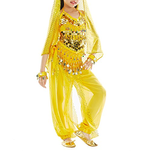 [TopTie Kid's Belly Dance Girl Halter Top, Harem Pants, Halloween Costumes Set YELLOW-L] (Ideas For Halloween Costumes For Teenage Girl)