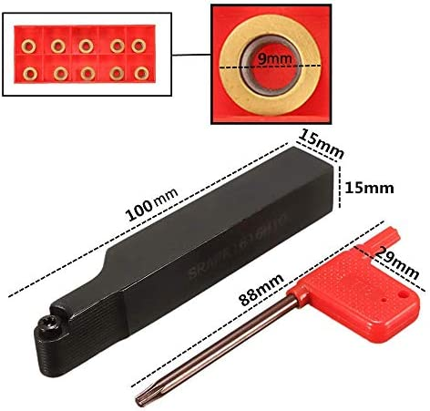 ZGQA-GQA Cutting Tools, With 10pcs RPMT10T3MO Inserts Turning Tool Set SRAPR1616H10 Face Milling External Lathe Holder