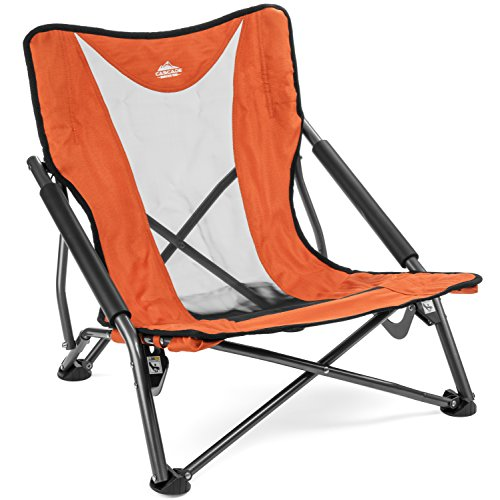 Cascade Mountain Tech Compact Low Profile Outdoor Folding Camp Chair with Carry Case - Orange ()