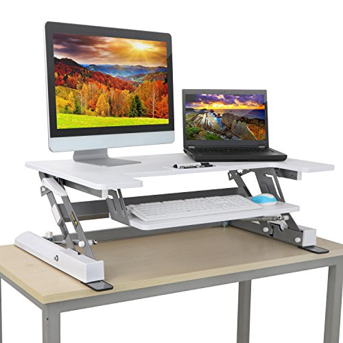 HomGarden Height Adjustable Standing Desk Riser Sit Stand 36″ Tabletop Workstation Lift Computer Desk Converter fits Dual Monitor w/Keyboard Tray, White