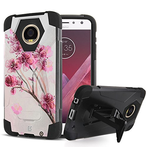 Price comparison product image Moto Z2 Play Case - Ultra Slim Fit Dual Layer Rugged [Impact Resistant] Armor Kickstand Cover Case - [Cherry Blossom] and Atom LED