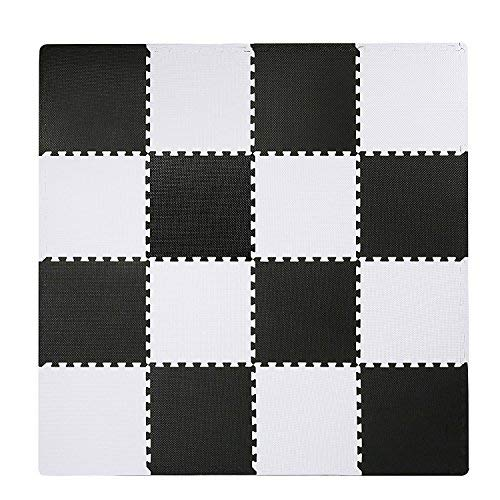SUPERJARE Interlocking Floor Tiles, 16 Tiles (16 Tiles = 16 sq.ft) EVA Foam Puzzle Mat with Borders - White and ()