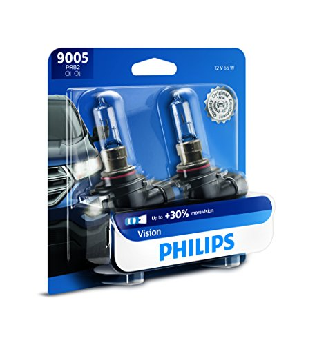 (Philips 9005 Vision Upgrade Headlight Bulb with up to 30% More Vision, 2 Pack)