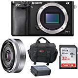 Sony Alpha A6000 Mirrorless Digital Camera (Body) with 16mm Lens and 3