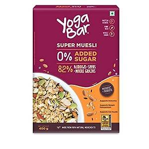 Yogabar Super Muesli, No Added or Hidden Sugar, Breakfast Muesli with Probiotics & Prebiotics, 82% Almonds + Whole… 4 519c3zWl6SL. SS300