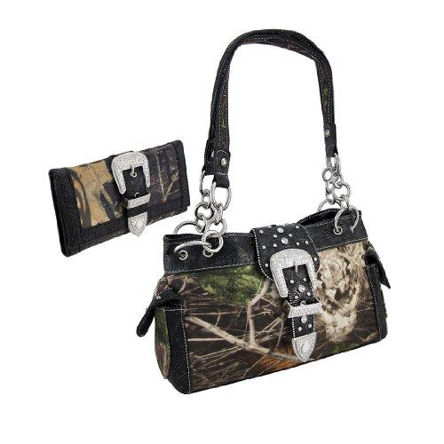 Camouflage Rhinestone Western Buckle Purse/Wallet Set (Black) - Camouflage Buckle