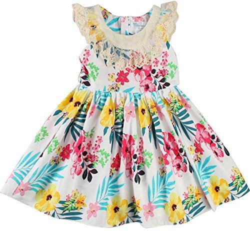 Sharequeen Girls Sleeveless Dress, Children Dress Flower Lace Rose Embroidery Cotton Ruffle Design Swing Party Dresses (7-8T Height 51