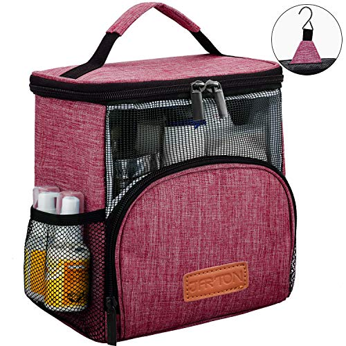 REGER Hanging Shower Caddy Tote Bags, Water Resistant Easy Dry Fabric PVC Mesh Toiletry Bags for Men Women Travel Gym College]()