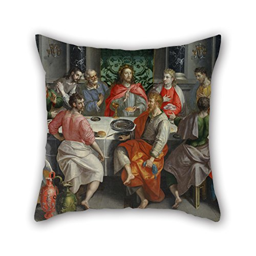 Bestseason Pillow Covers Of Oil Painting Marten De Vos - The Last Supper 20 X 20 Inches / 50 By 50 Cm,best Fit For Kids Girls,couch,lover,wife,bar Seat,birthday Two Sides